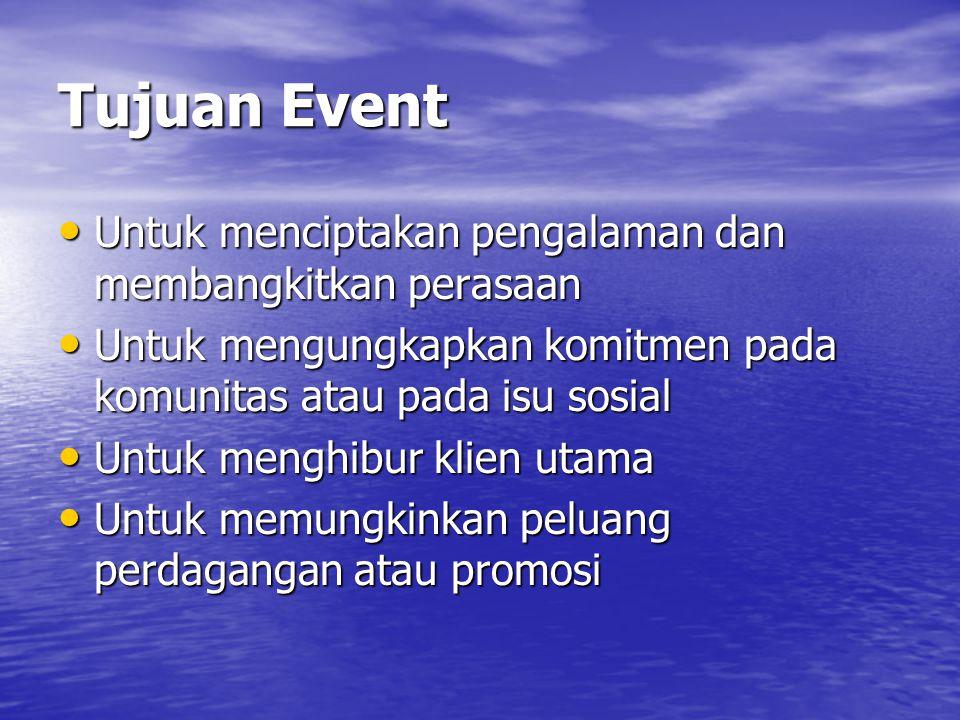 Tujuan Event Untuk menciptakan pengalaman dan membangkitkan perasaan