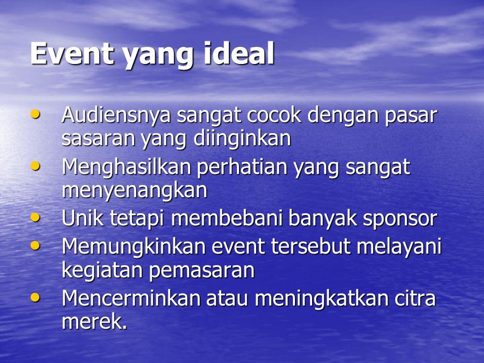 Event yang ideal Audiensnya sangat cocok dengan pasar sasaran yang diinginkan. Menghasilkan perhatian yang sangat menyenangkan.