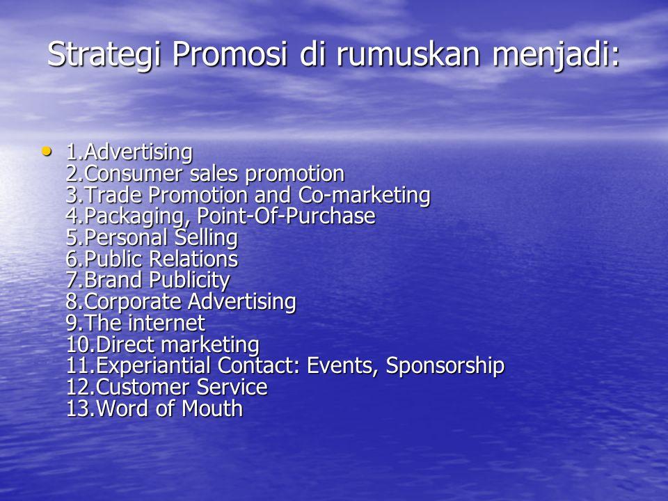 Strategi Promosi di rumuskan menjadi: