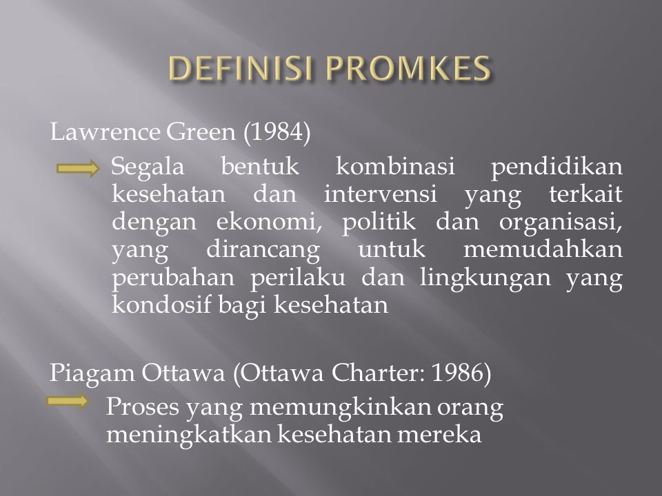 DEFINISI PROMKES Lawrence Green (1984)