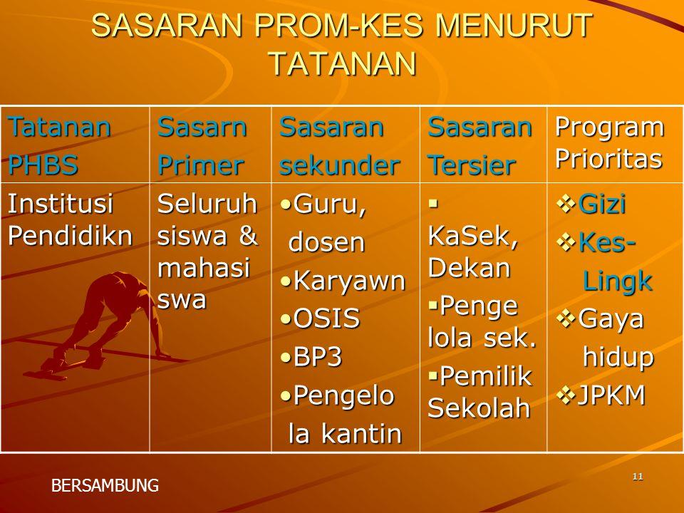 SASARAN PROM-KES MENURUT TATANAN