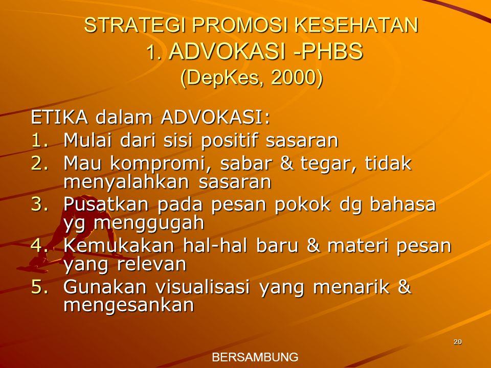STRATEGI PROMOSI KESEHATAN 1. ADVOKASI -PHBS (DepKes, 2000)