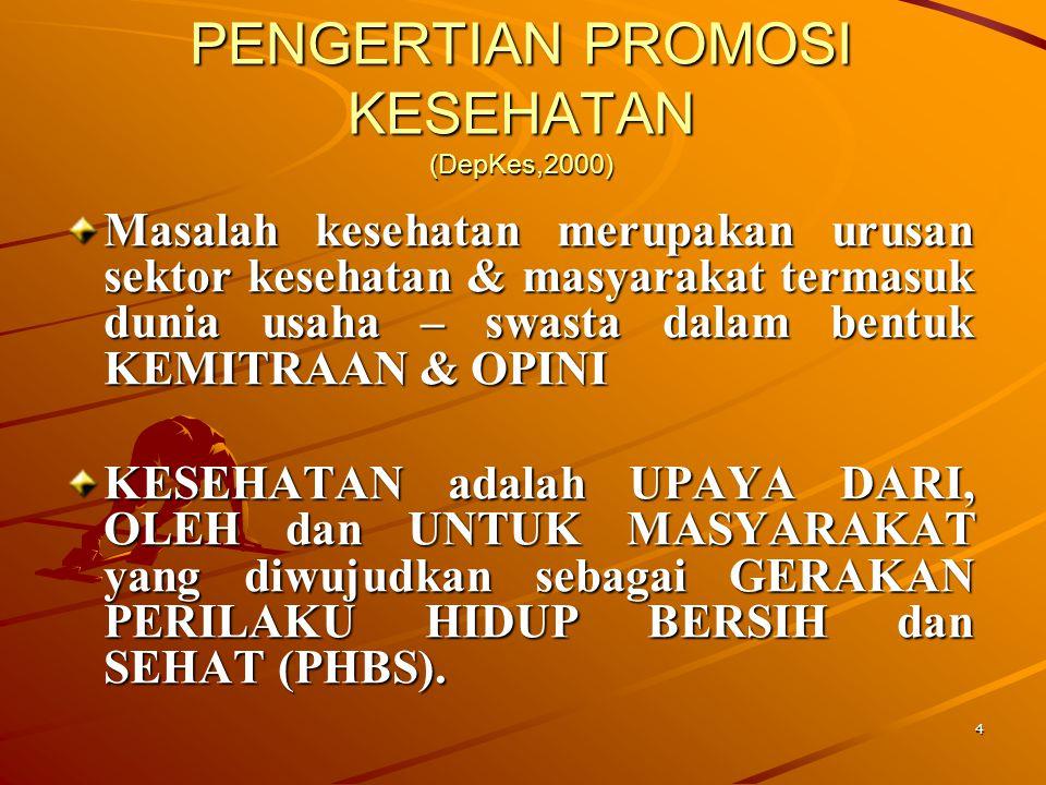 PENGERTIAN PROMOSI KESEHATAN (DepKes,2000)