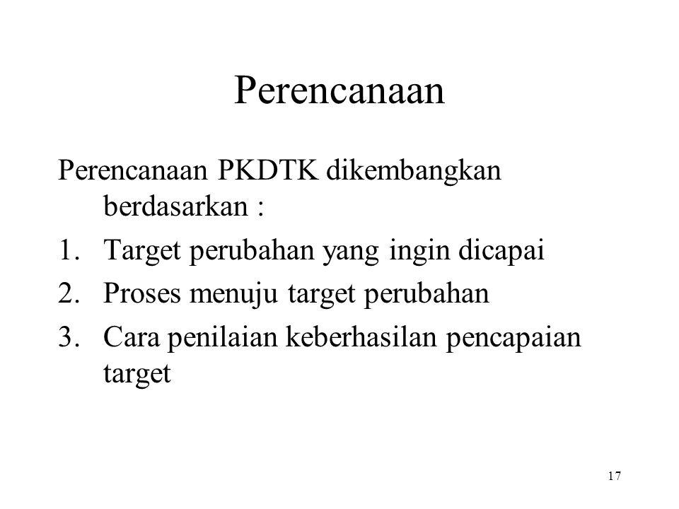 Perencanaan Perencanaan PKDTK dikembangkan berdasarkan :