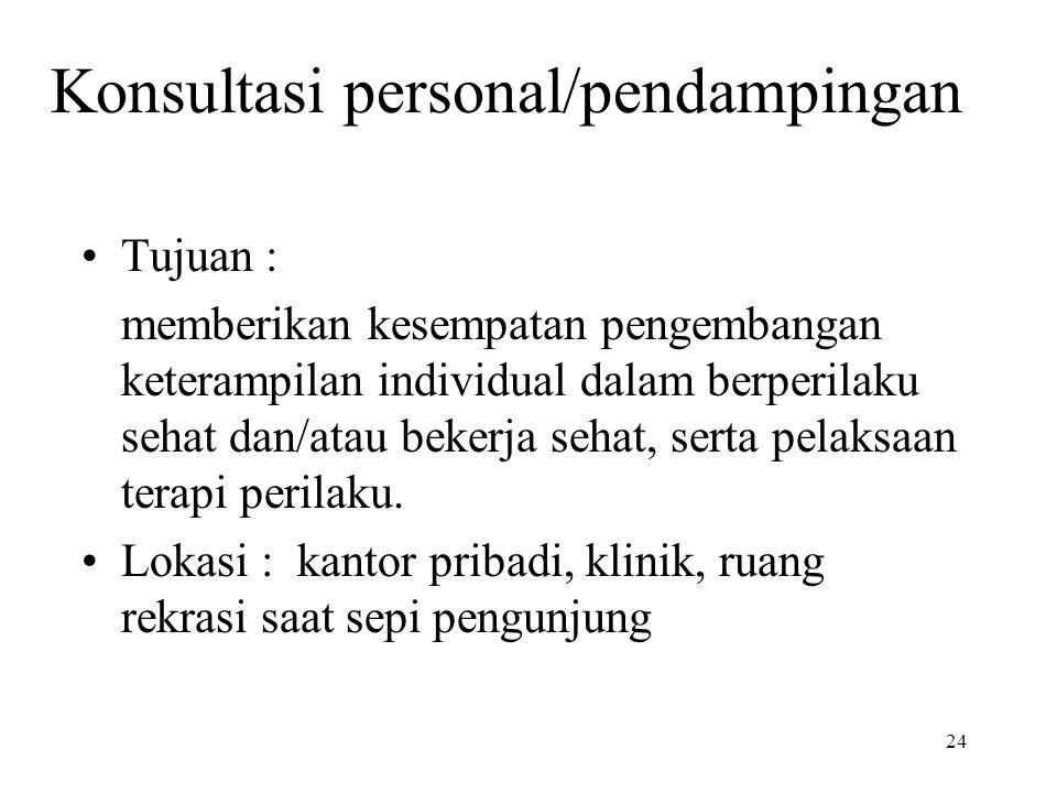 Konsultasi personal/pendampingan