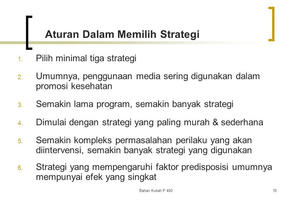 Aturan Dalam Memilih Strategi