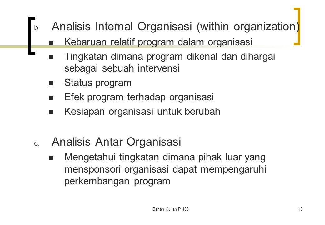 Analisis Internal Organisasi (within organization)