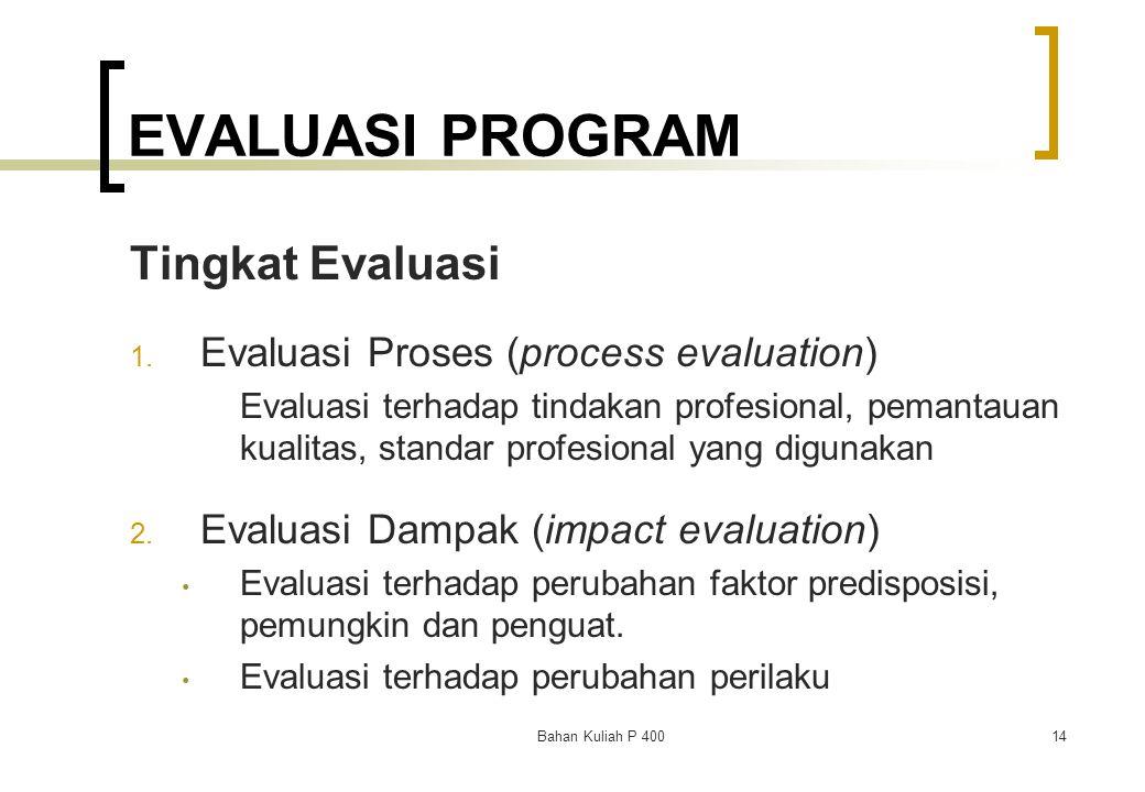 EVALUASI PROGRAM Tingkat Evaluasi Evaluasi Proses (process evaluation)