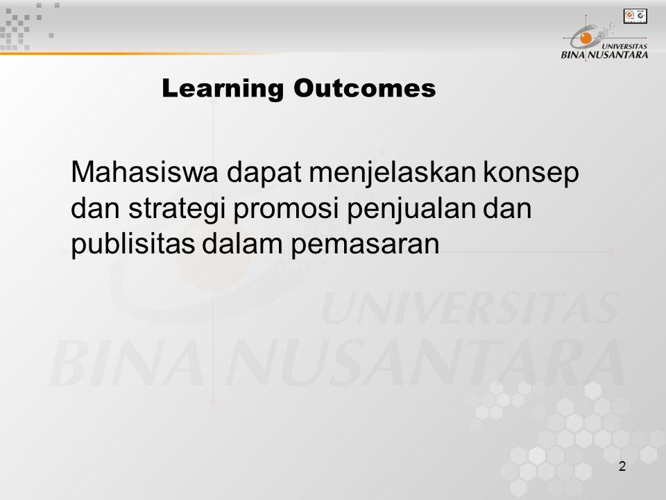 Learning Outcomes Mahasiswa dapat menjelaskan konsep dan strategi promosi penjualan dan publisitas dalam pemasaran.