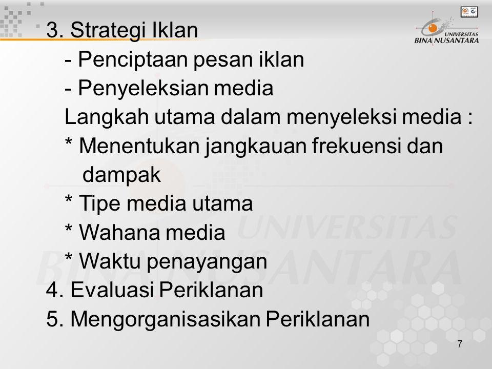 3. Strategi Iklan - Penciptaan pesan iklan. - Penyeleksian media. Langkah utama dalam menyeleksi media :