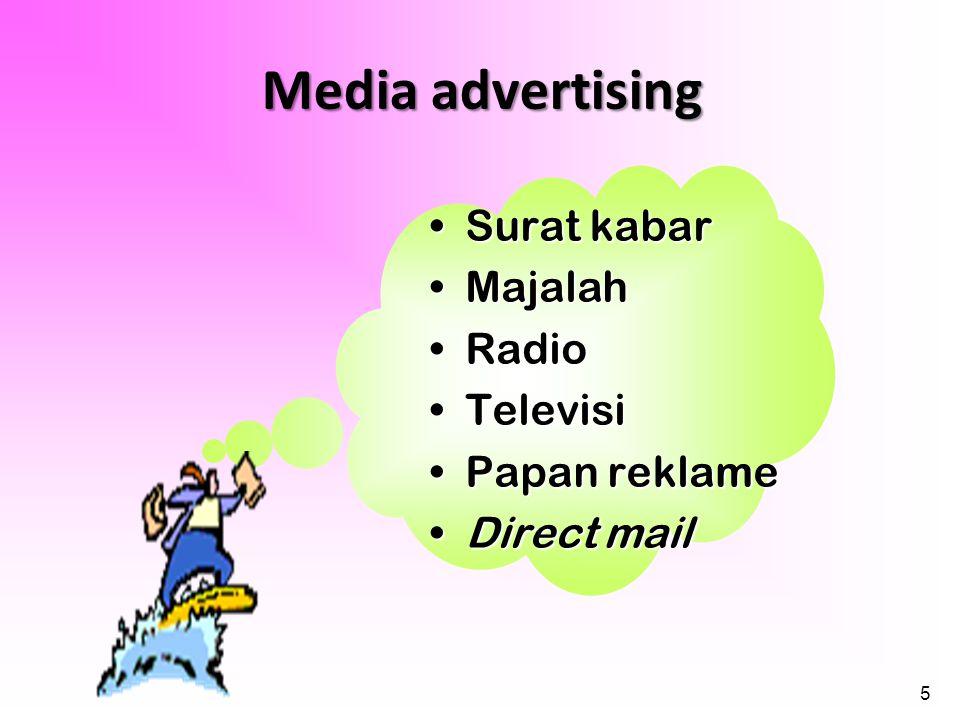 Media advertising Surat kabar Majalah Radio Televisi Papan reklame