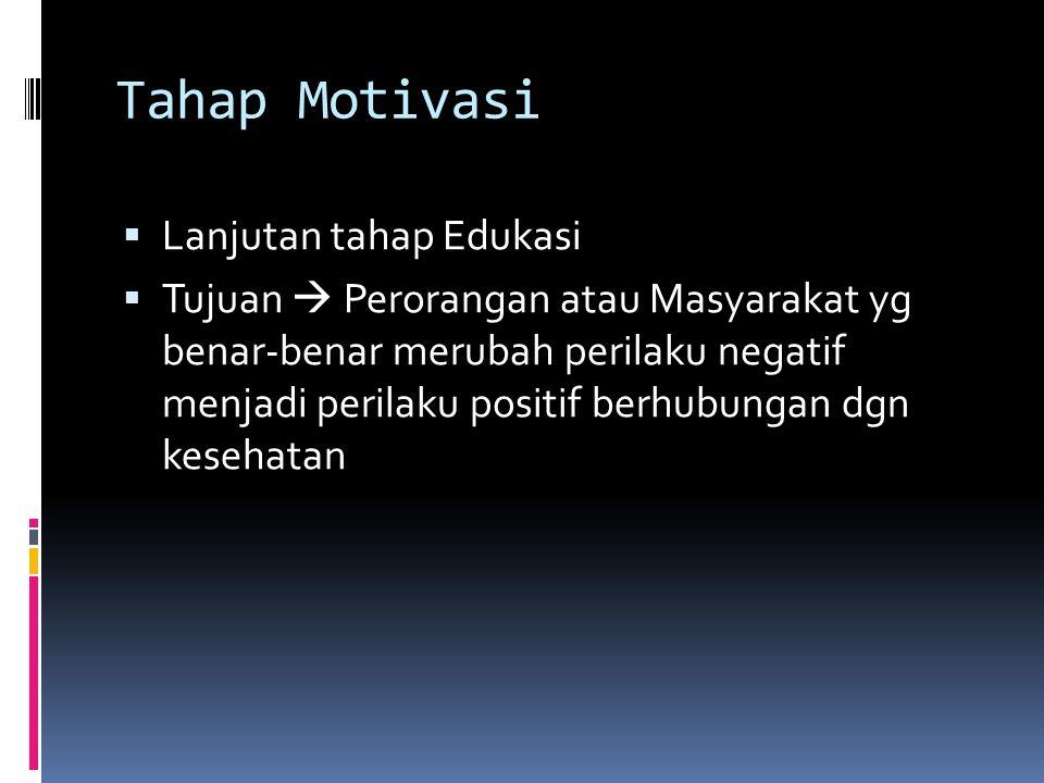 Tahap Motivasi Lanjutan tahap Edukasi