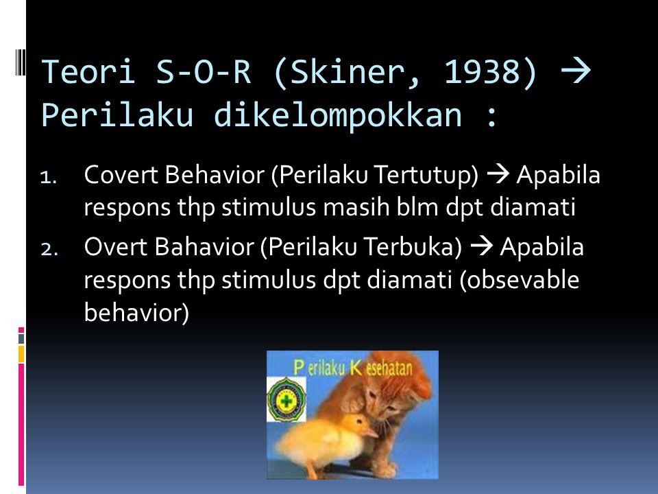 Teori S-O-R (Skiner, 1938)  Perilaku dikelompokkan :