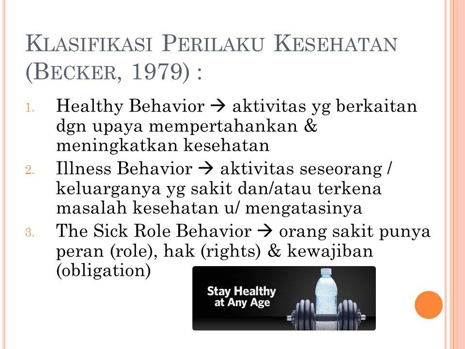 Klasifikasi Perilaku Kesehatan (Becker, 1979) :