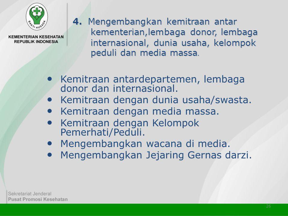 Kemitraan antardepartemen, lembaga donor dan internasional.