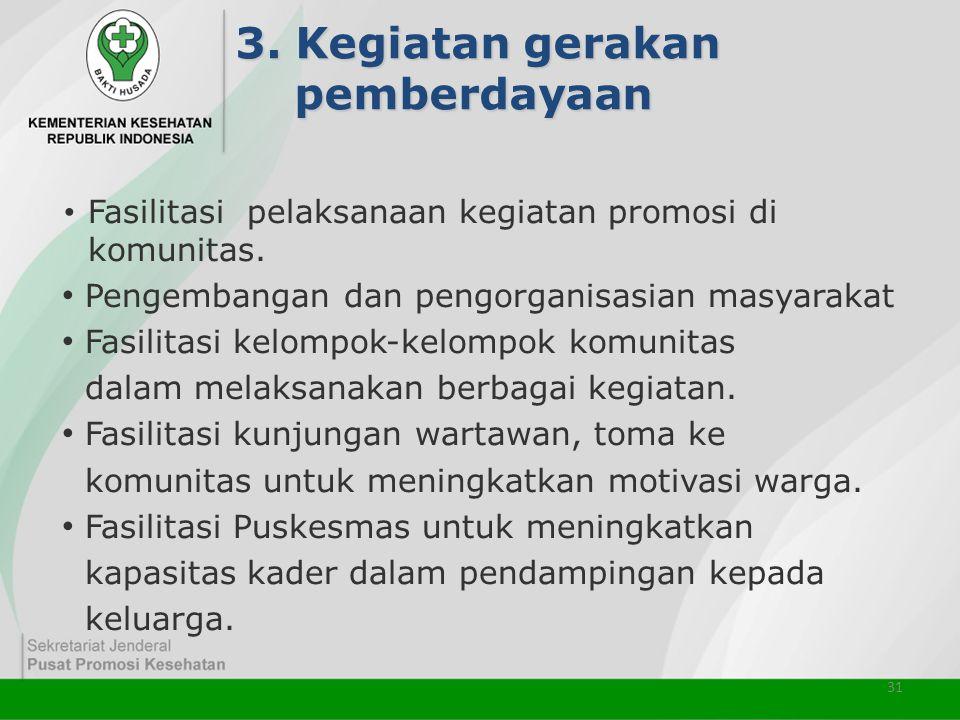 3. Kegiatan gerakan pemberdayaan