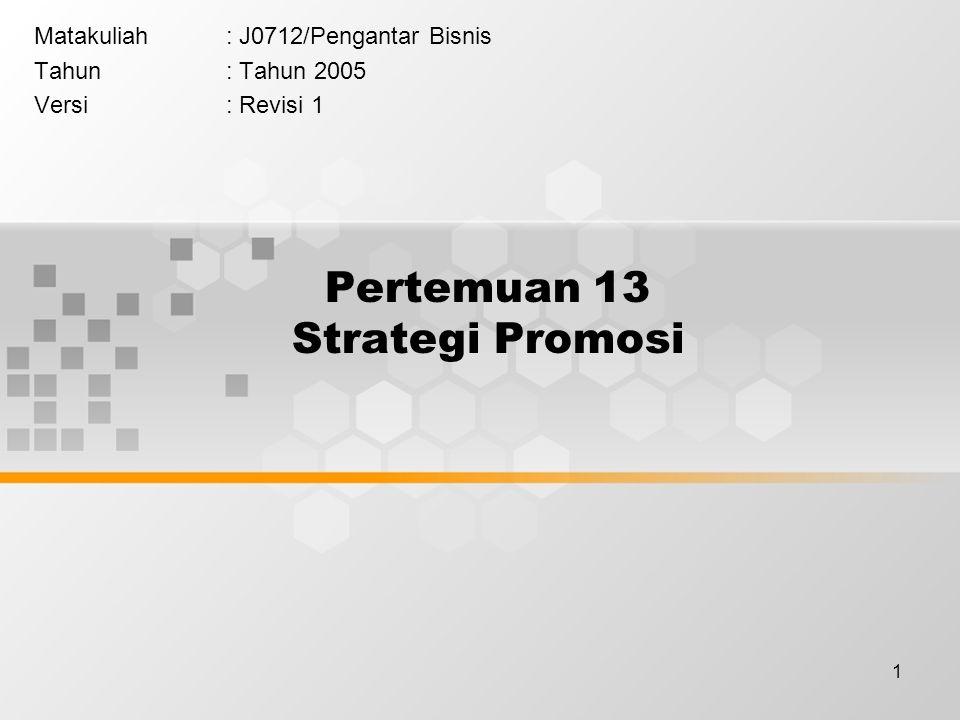 Pertemuan 13 Strategi Promosi