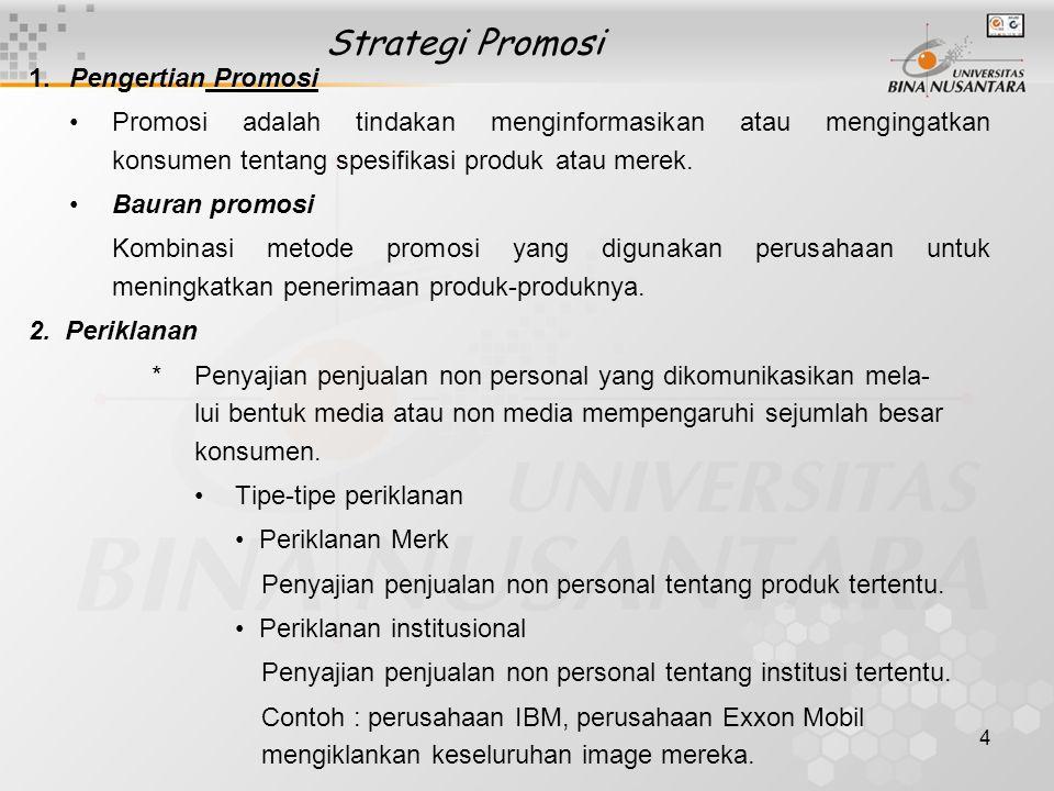 Strategi Promosi 1. Pengertian Promosi