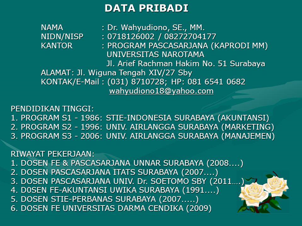 DATA PRIBADI NIDN/NISP : 0718126002 / 08272704177