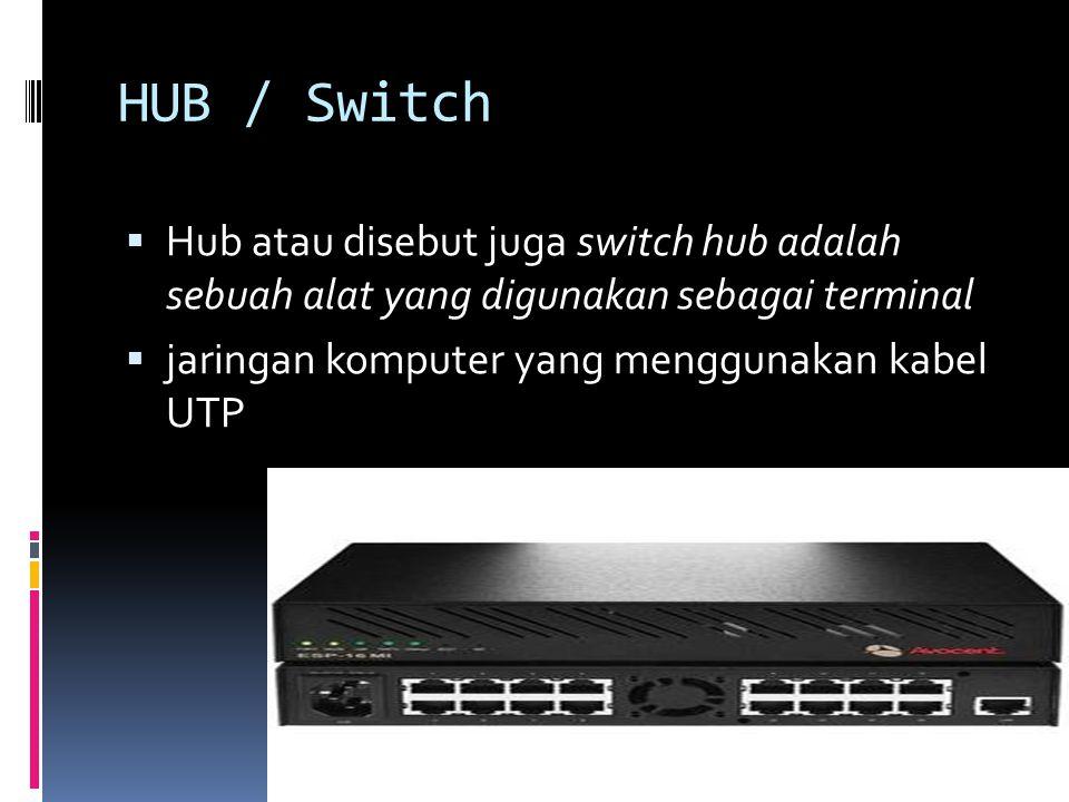 HUB / Switch Hub atau disebut juga switch hub adalah sebuah alat yang digunakan sebagai terminal.