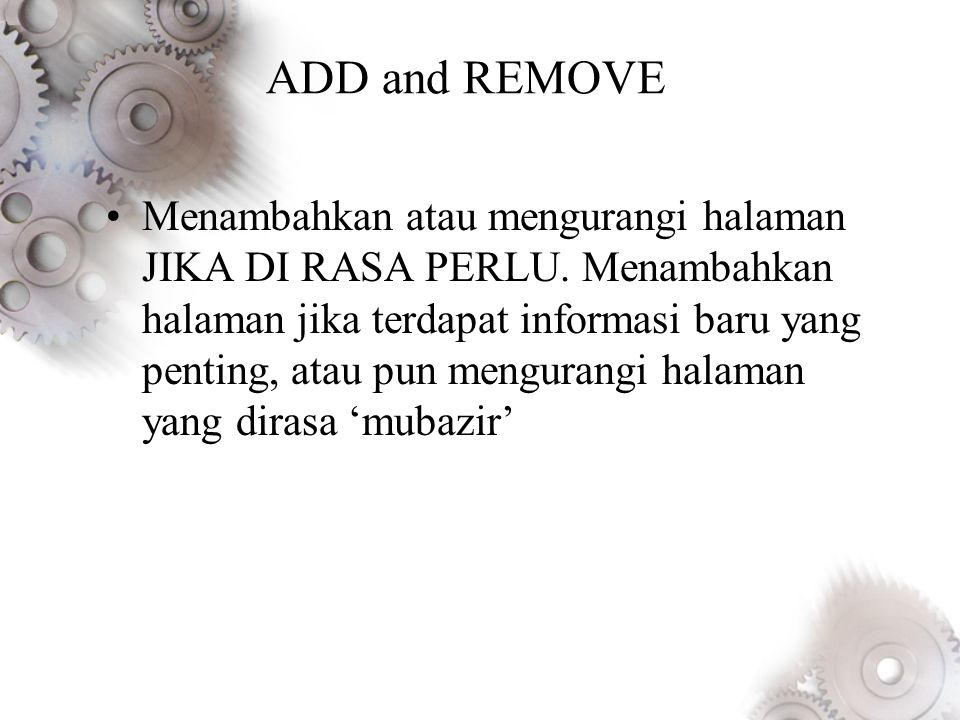 ADD and REMOVE
