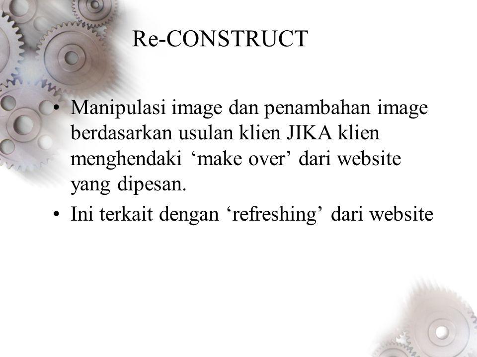 Re-CONSTRUCT Manipulasi image dan penambahan image berdasarkan usulan klien JIKA klien menghendaki 'make over' dari website yang dipesan.