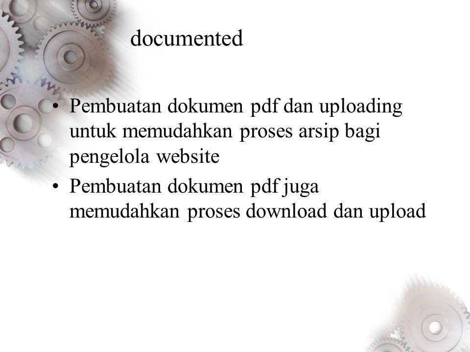 documented Pembuatan dokumen pdf dan uploading untuk memudahkan proses arsip bagi pengelola website.