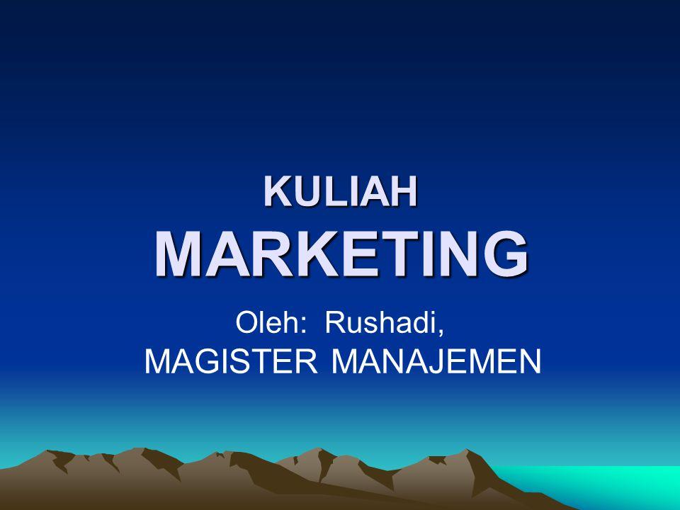 KULIAH MARKETING Oleh: Rushadi, MAGISTER MANAJEMEN
