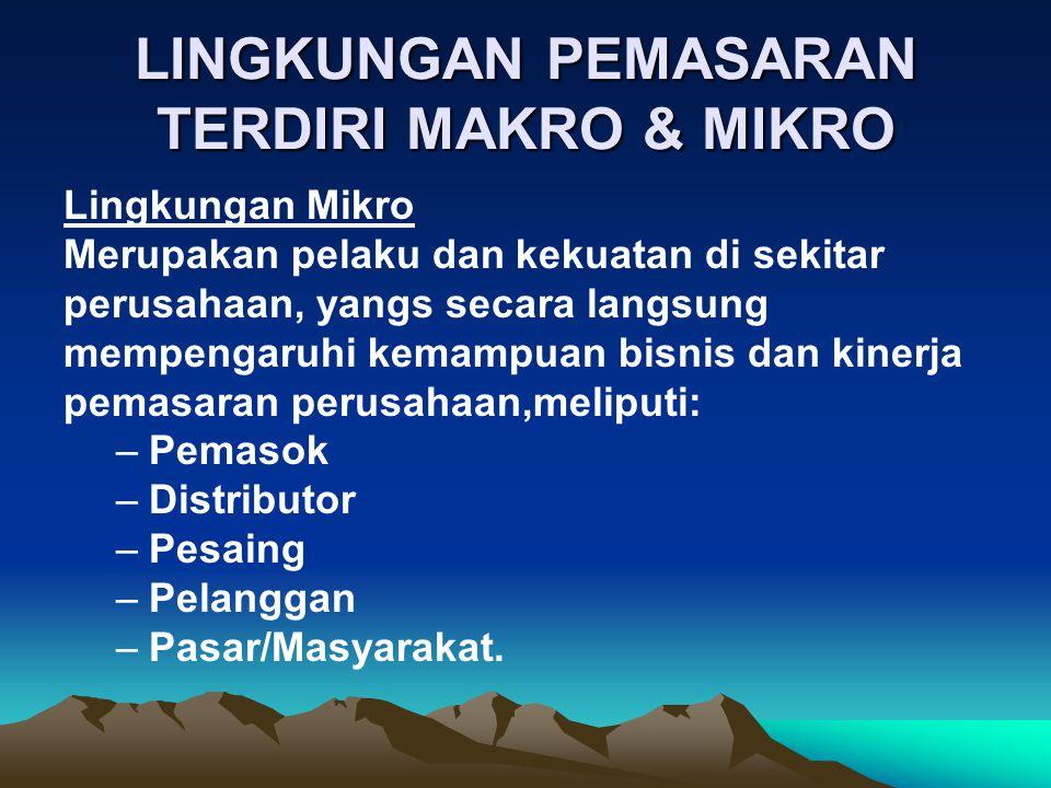 LINGKUNGAN PEMASARAN TERDIRI MAKRO & MIKRO