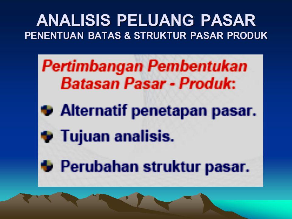 ANALISIS PELUANG PASAR PENENTUAN BATAS & STRUKTUR PASAR PRODUK