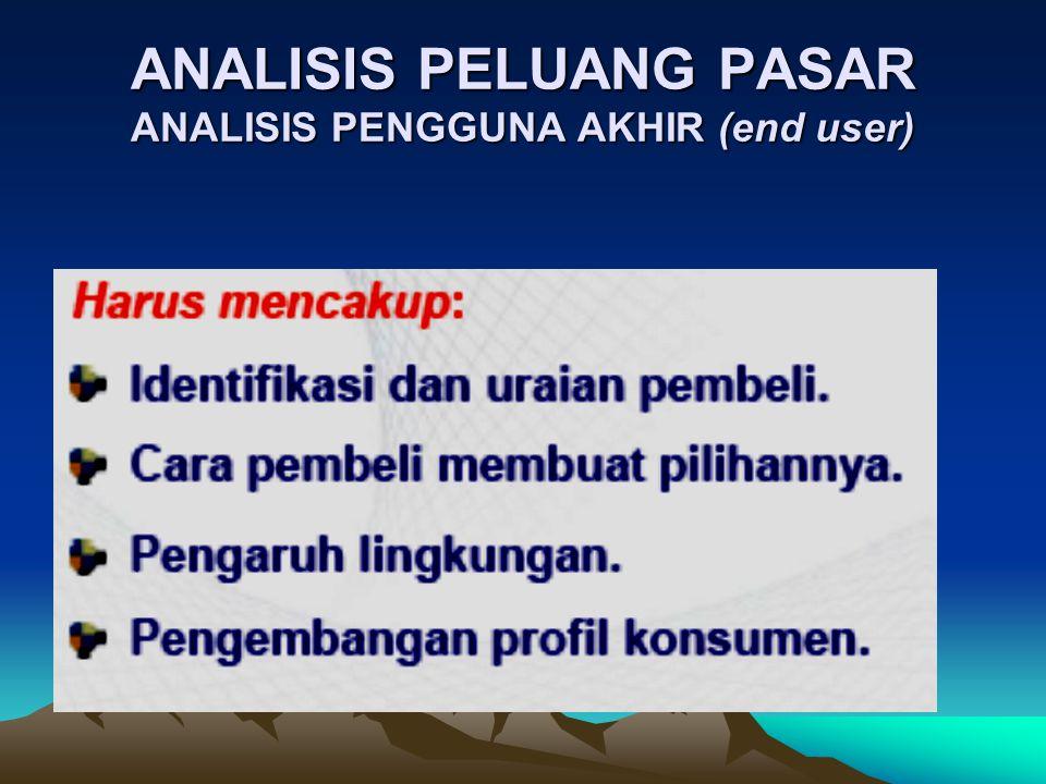 ANALISIS PELUANG PASAR ANALISIS PENGGUNA AKHIR (end user)