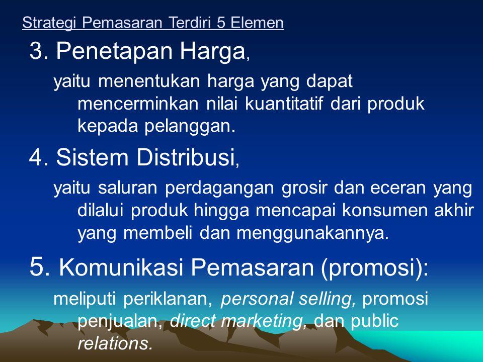 5. Komunikasi Pemasaran (promosi):