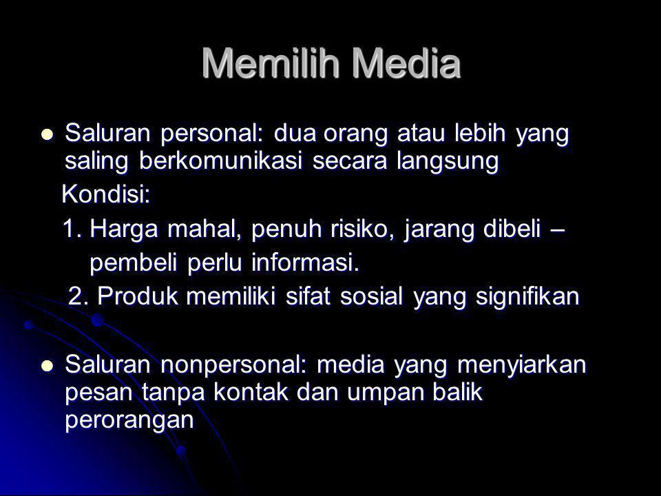 Memilih Media Saluran personal: dua orang atau lebih yang saling berkomunikasi secara langsung. Kondisi: