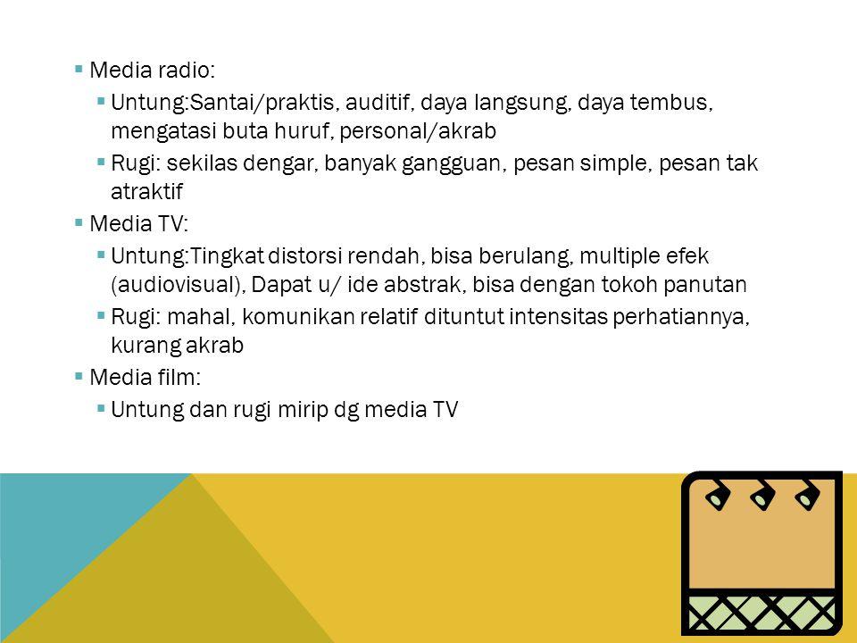Media radio: Untung:Santai/praktis, auditif, daya langsung, daya tembus, mengatasi buta huruf, personal/akrab.