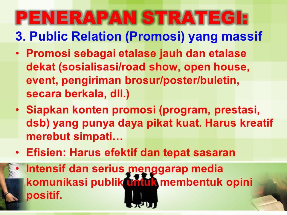 PENERAPAN STRATEGI: 3. Public Relation (Promosi) yang massif