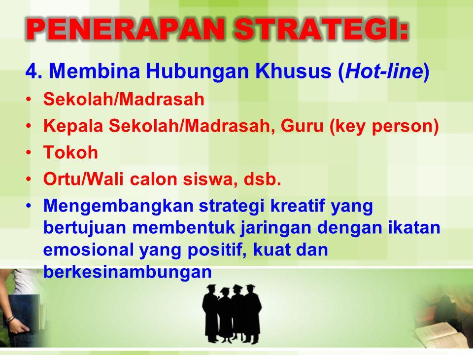 PENERAPAN STRATEGI: 4. Membina Hubungan Khusus (Hot-line)