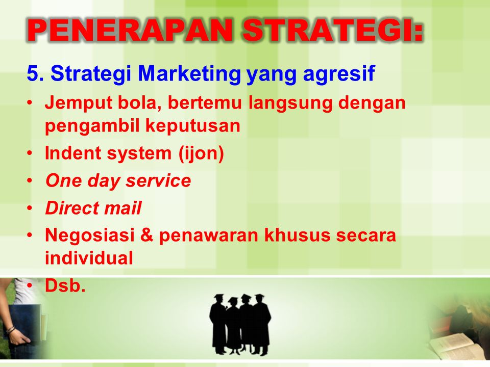 PENERAPAN STRATEGI: 5. Strategi Marketing yang agresif
