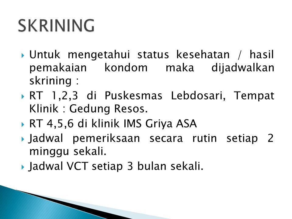 SKRINING Untuk mengetahui status kesehatan / hasil pemakaian kondom maka dijadwalkan skrining :