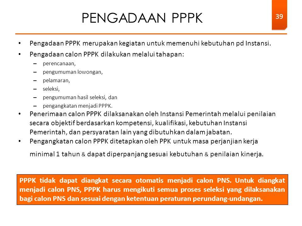 PENGADAAN PPPK Pengadaan PPPK merupakan kegiatan untuk memenuhi kebutuhan pd Instansi. Pengadaan calon PPPK dilakukan melalui tahapan: