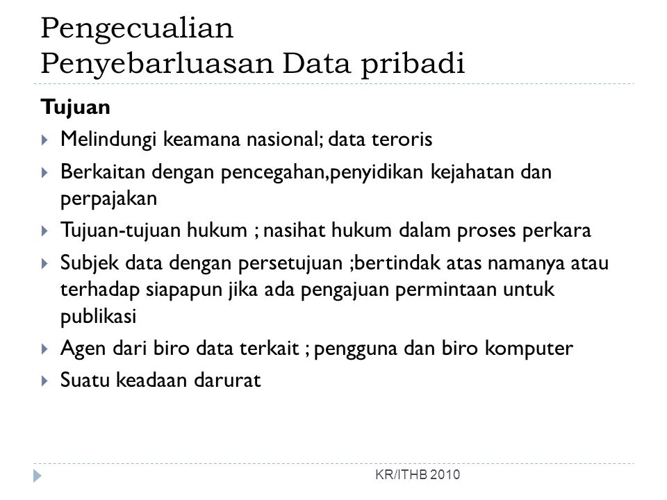 Pengecualian Penyebarluasan Data pribadi