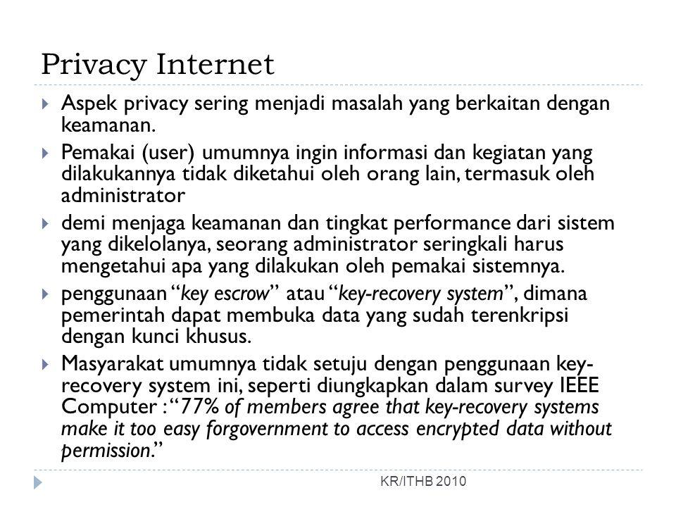 Privacy Internet Aspek privacy sering menjadi masalah yang berkaitan dengan keamanan.