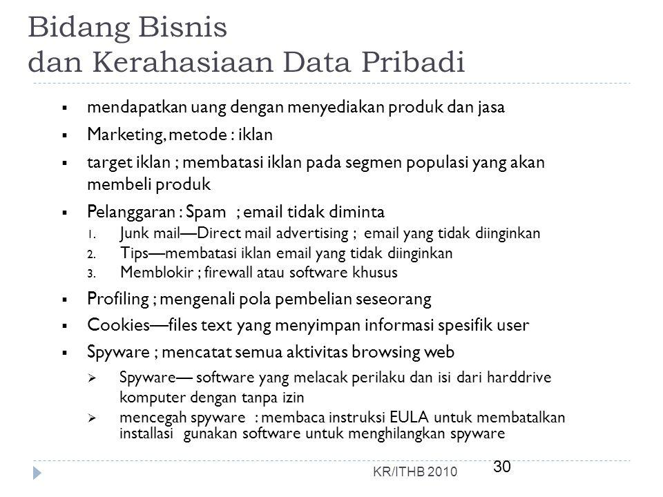 Bidang Bisnis dan Kerahasiaan Data Pribadi
