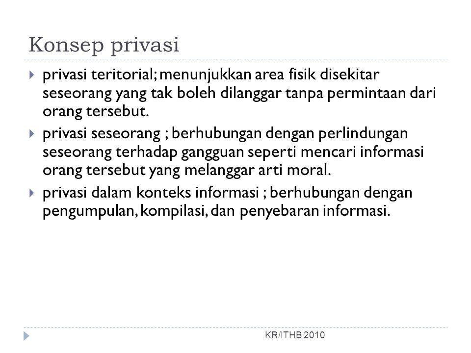 Konsep privasi privasi teritorial; menunjukkan area fisik disekitar seseorang yang tak boleh dilanggar tanpa permintaan dari orang tersebut.