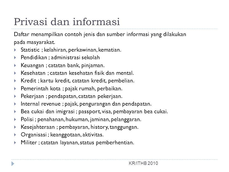 Privasi dan informasi Daftar menampilkan contoh jenis dan sumber informasi yang dilakukan. pada masyarakat.