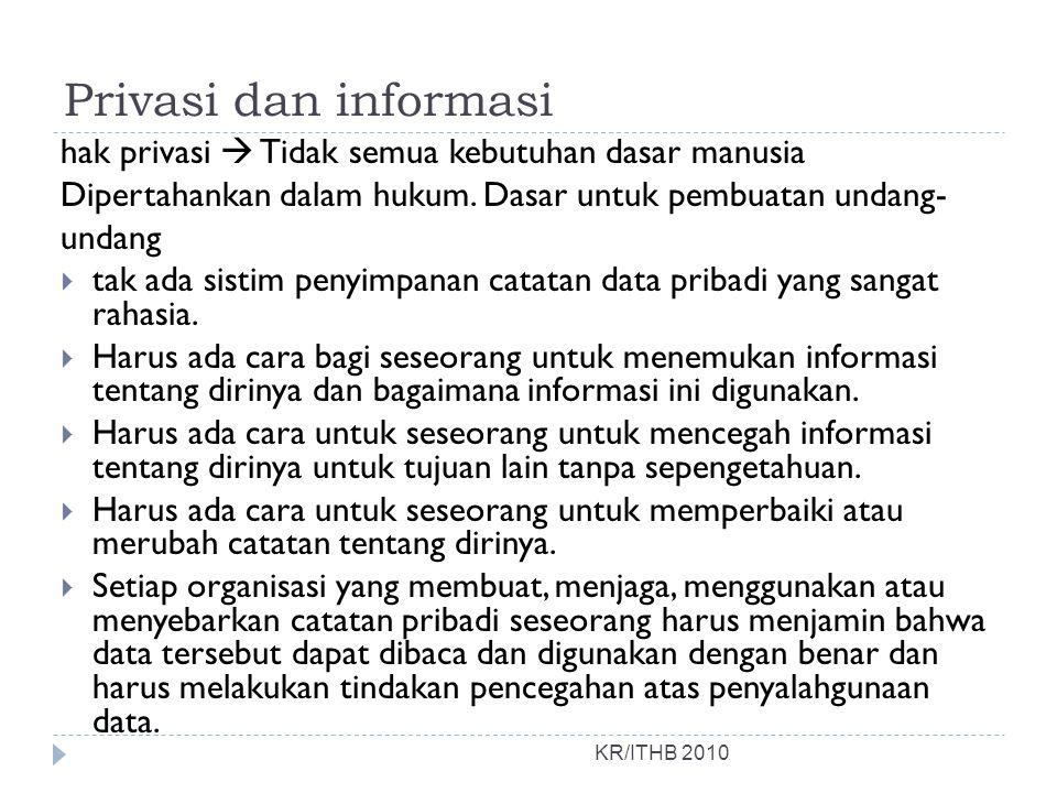 Privasi dan informasi hak privasi  Tidak semua kebutuhan dasar manusia. Dipertahankan dalam hukum. Dasar untuk pembuatan undang-