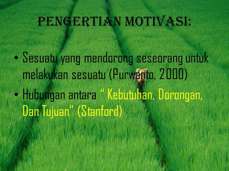 Pengertian motivasi: Sesuatu yang mendorong seseorang untuk melakukan sesuatu (Purwanto, 2000)
