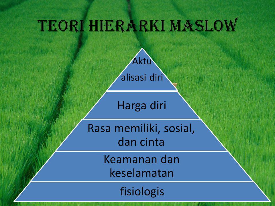 Teori hierarki maslow Aktu alisasi diri Harga diri