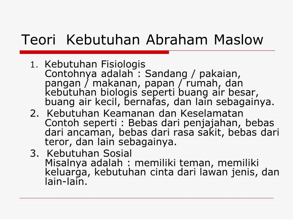 Teori Kebutuhan Abraham Maslow