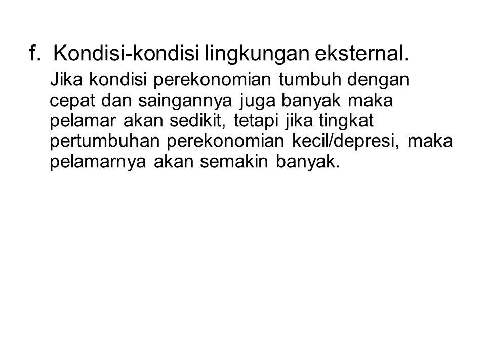 f. Kondisi-kondisi lingkungan eksternal.