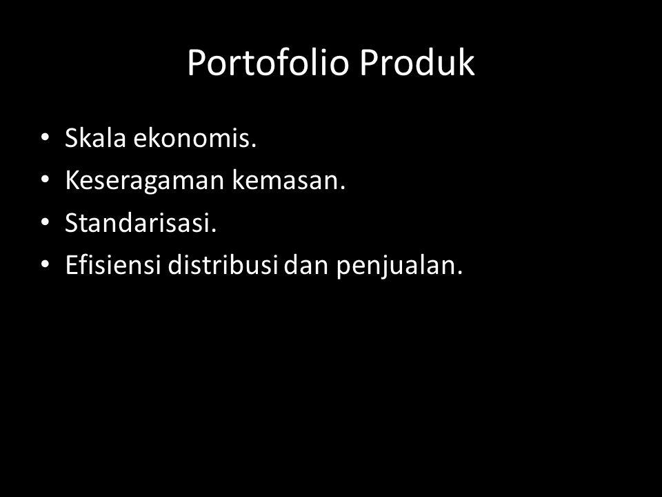Portofolio Produk Skala ekonomis. Keseragaman kemasan. Standarisasi.